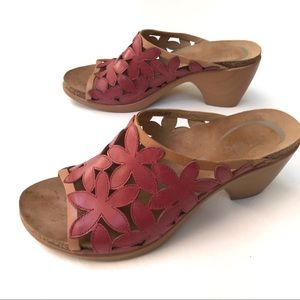 Dansko Clarissa shoes floral cutout sandals red